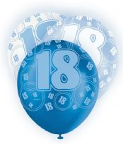 Blue Glitz Age 18 Latex Balloons (6)